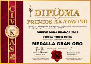 Ourive Dona Branca 2013 Diploma Medalla GRAN ORO CIVAS 2016 © akataVino.es