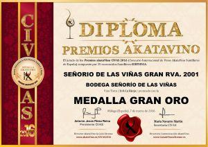Señorio de las Viñas Gran Rva 2001 Diploma Medalla GRAN ORO CIVAS 2016 © akataVino.es
