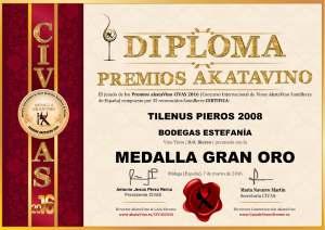 Tilenus Pieros 2008 Bodegas Estefania Diploma Medalla GRAN ORO CIVAS 2016 © akataVino.es