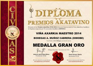 Viña Axarkia Maestro 2014 Dimobe Diploma Medalla GRAN ORO CIVAS 2016 © akataVino.es