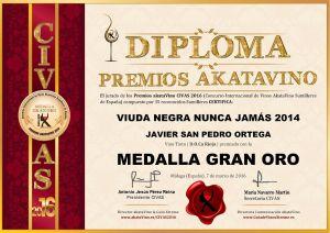 Viuda Negra Nunca Jamas 2014 Javier San Pedro Diploma Medalla GRAN ORO CIVAS 2016 © akataVino.es