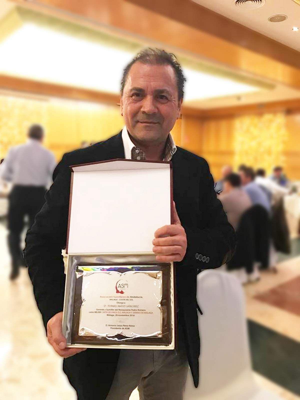 Tomas Mayo premio Mejor Carta Vinos Malaga ASM Sumilleres 2016