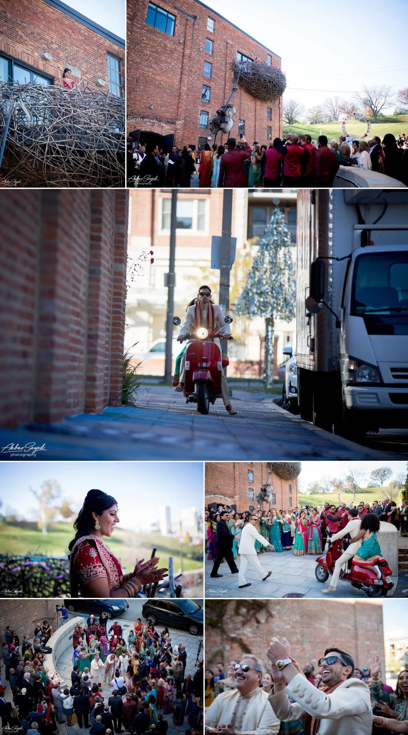 A photo collage of a Indian Bride and Iranian groom during their Baraat at the American Visionary Art Museum in Baltimore, Maryland.
