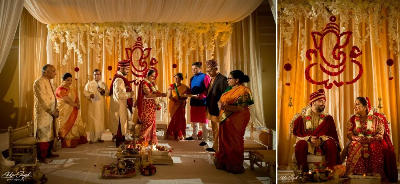 A photo collage of South Asian Hindu wedding decor created by L'Ambiance weddings at the BWI Marriott.
