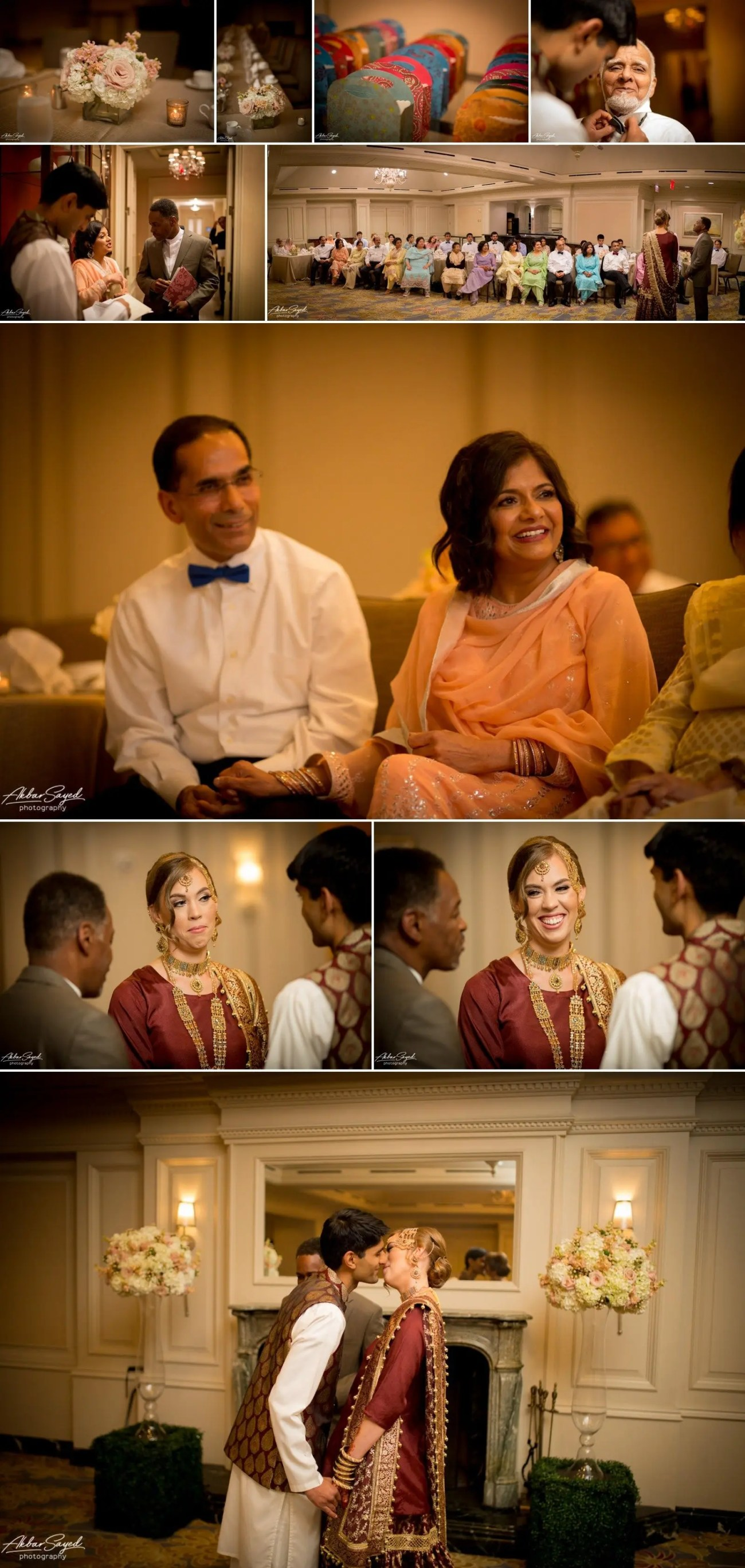 A photo collage of a Nikkah (Muslim wedding ceremony) at the Ritz-Carlton in Pentagon City.