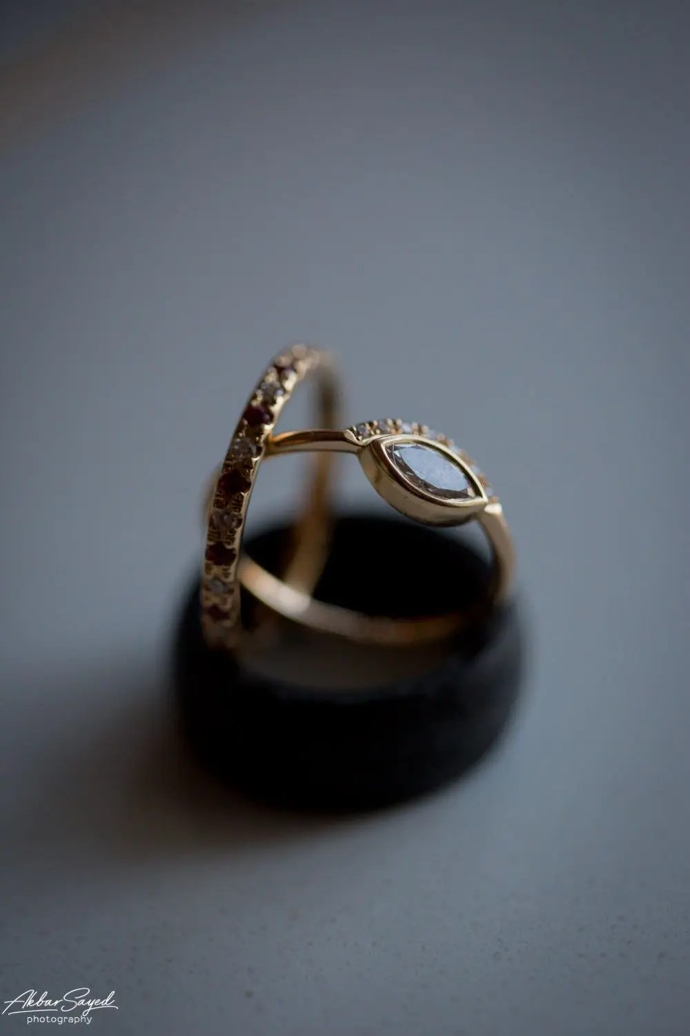 A photo of wedding rings during a Jewish - Hindu fusion wedding at the Chesapeake Bay Hyatt in Cambridge, Maryland.
