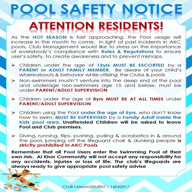 Club Notice Usage of Swimming Pool  2017
