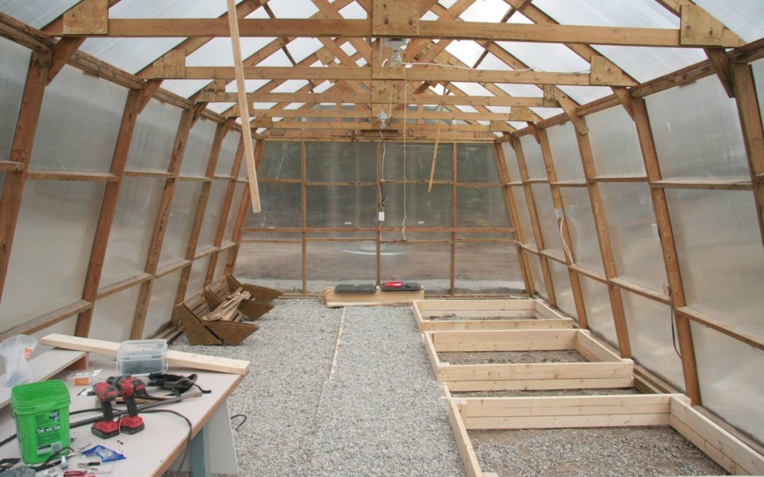 Inside the greenhouse – coming along