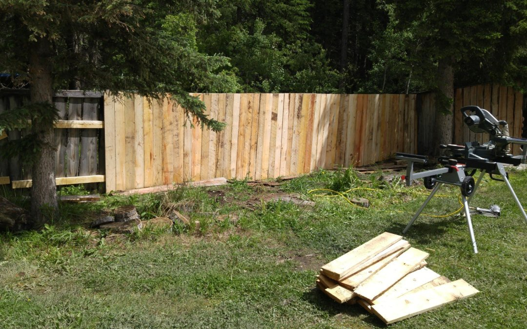 Fixing up fence behind the house