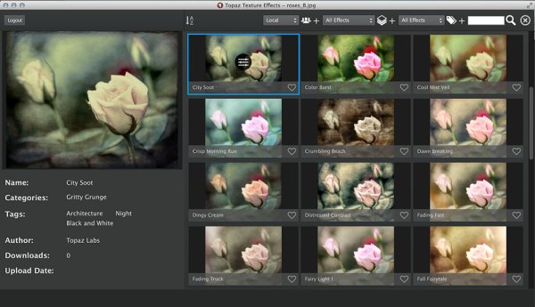Topaz Texture Effects GridView Browser