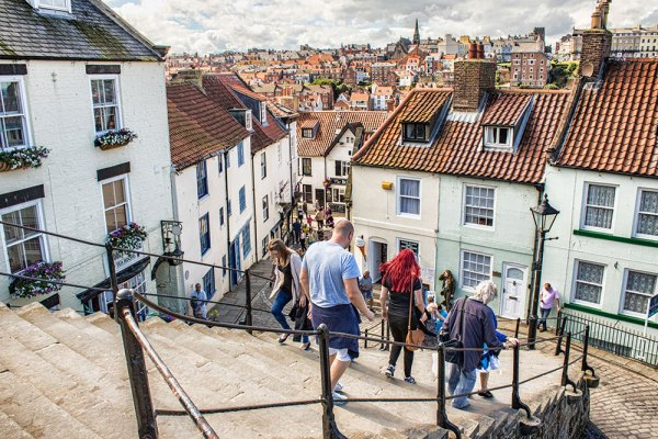 The 99 Steps in Whitby looking to the town