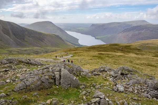 Looking back at Wastwater from Hollow Stones