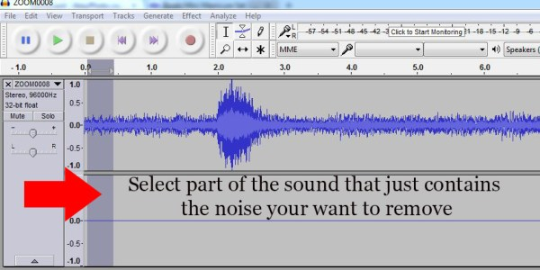 Select part of the soundtrack that only contains the noise