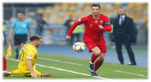 رونالدو در بازی با اوکراین
