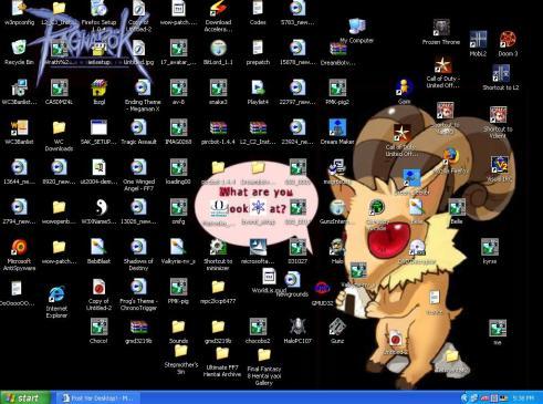 desktop penuh icon, banyak sampah