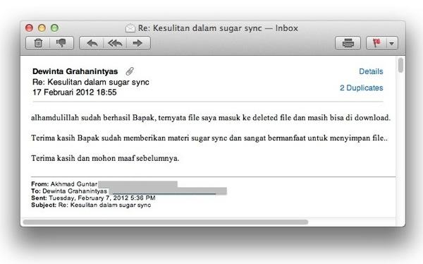 SugarSync  data hilang selamat 2
