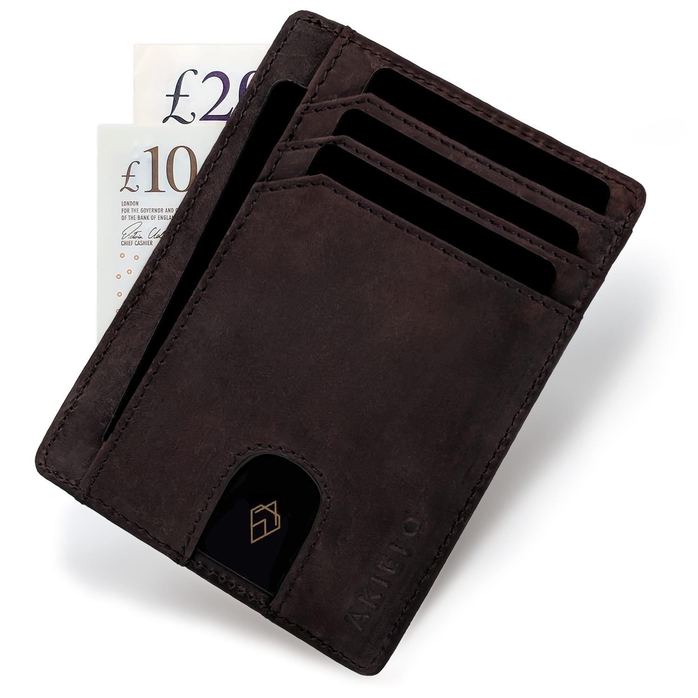 Brown RFID blocking credit card holder wallet minimalist card wallet