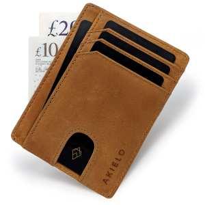 Tan RFID blocking credit card holder wallet minimalist card wallet