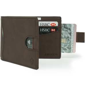 Brown Bifold Mens Wallet Card Wallet Holder with pull tab