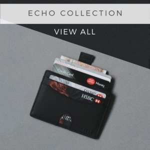 Black Echo Wallet Collection RFID Blocking Credit Card Holder Compact Minimalist Card Wallet