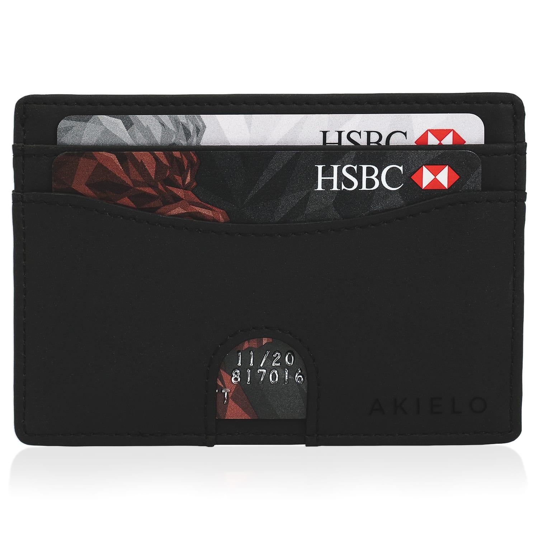 Black RFID Blocking Credit Card Holder Compact Minimalist Card Wallet