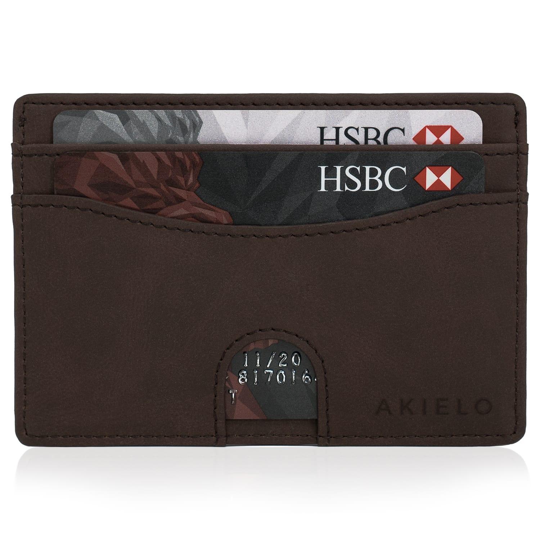 Brown RFID Blocking Credit Card Holder Compact Minimalist Card Wallet