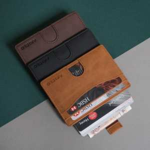 Black Brown Tan RFID Blocking Credit Card Holder Compact Minimalist Card Wallet