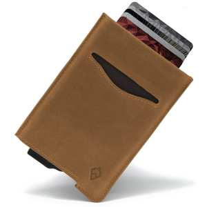 Tan RFID blocking credit card holder wallet pop up leather card holder like Andar Pilot Wallet