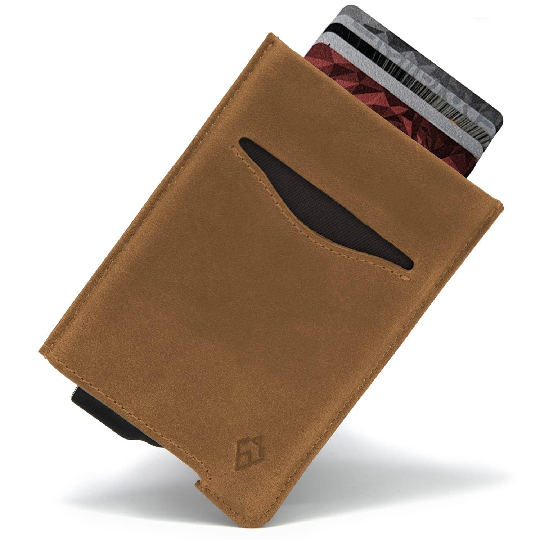 Tan RFID blocking credit card holder wallet pop up leather card holder like Andar Pilot Wallet