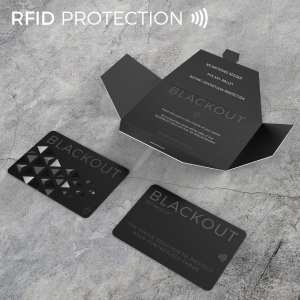 Black Twin Pack Blackout Card Ultra Thin RFID Blocking Card RFID Card Protector for your Wallet or Purse