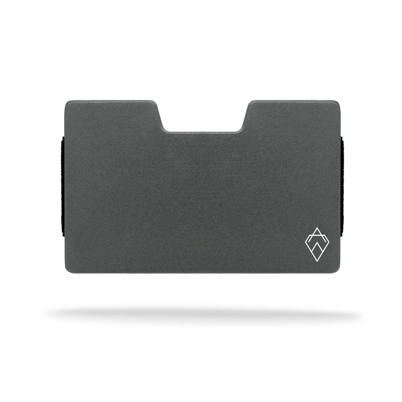 matte grey titanium RFID blocking credit card holder wallet with money clip