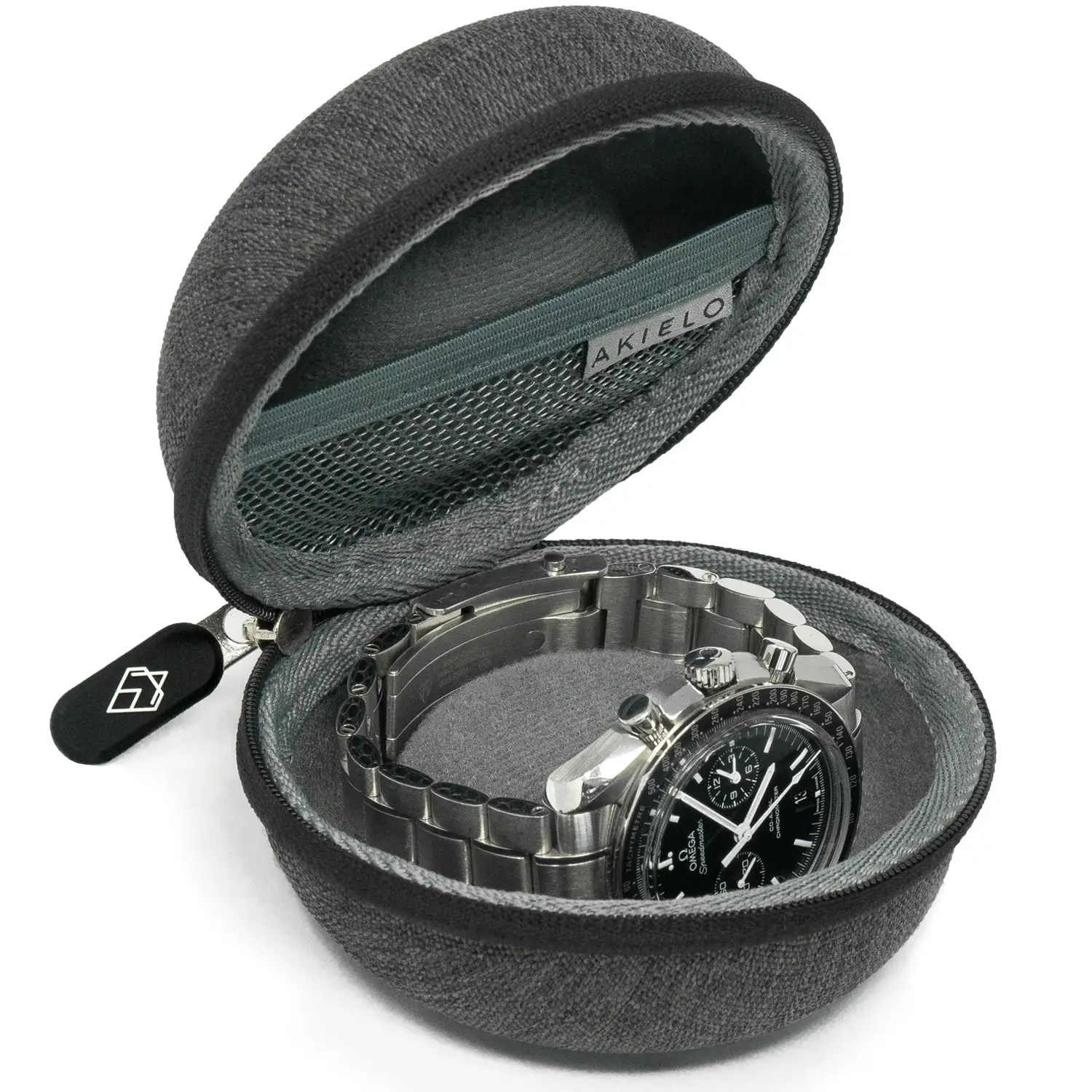 charcoal travel watch case box with polishing cloth