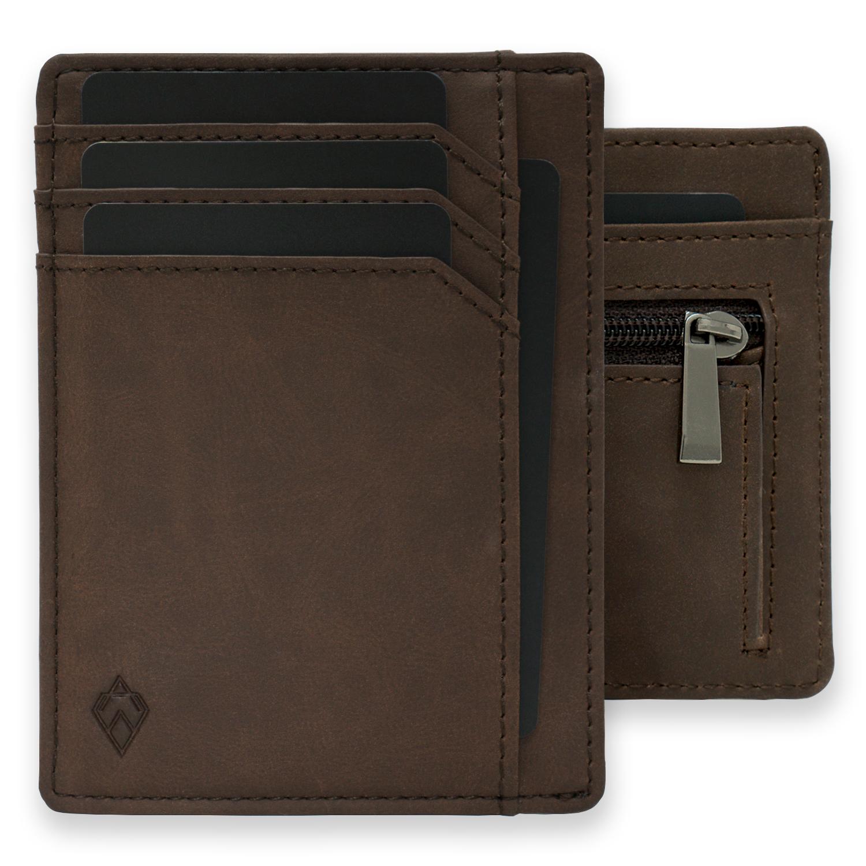 Brown RFID blocking credit card holder wallet with Zip Wallet