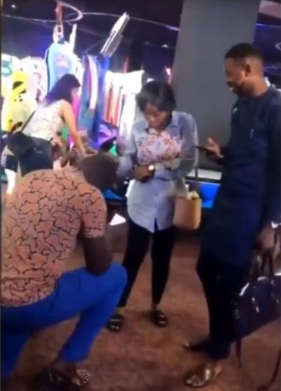 lady dances - See How This Nigerian Woman React To Her Boyfriend's Proposal In Public (Watch Video)
