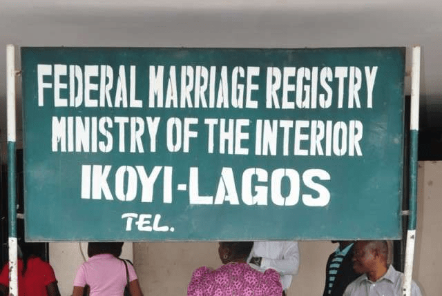 Federal marriage registry ministry of the interior Ikoyi - Lagos