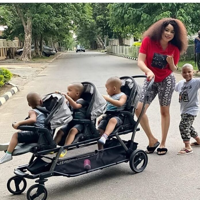 Here are some photos of the now-separated couple (Precious Chikwendu and Femi Fani Kayode) and their children: