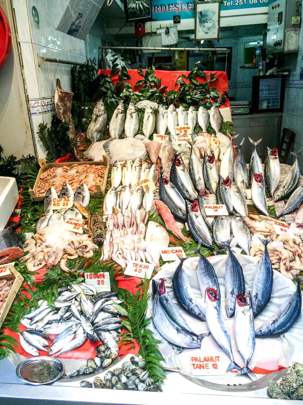 Mackerel - Beyoglu fish market near Istiklal Caddesi, Istanbul / A kitchen in Istanbul