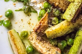Zucchini, garden peas & labneh with za'atar - recipe / A kitchen in Istanbul