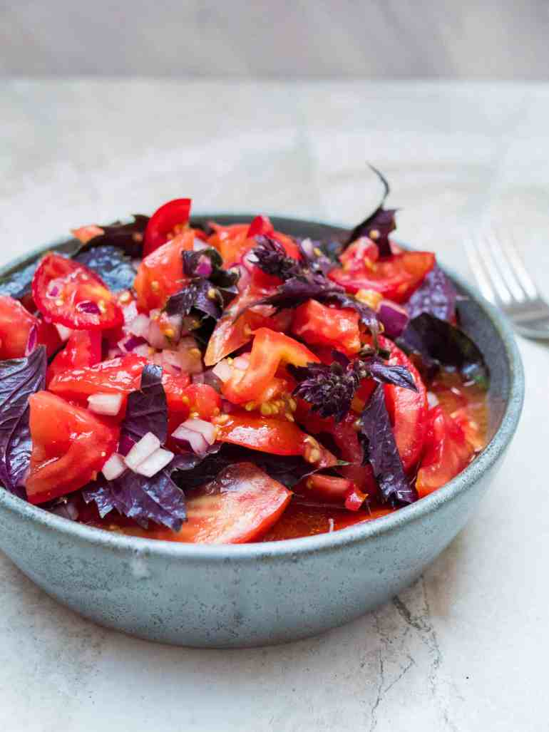 Tomato salad with purple basil - recipe / A kitchen in Istanbul