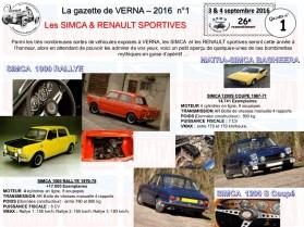 Gazette de Verna numéro 1 SIMCA et RENAULT SPORTIVES1