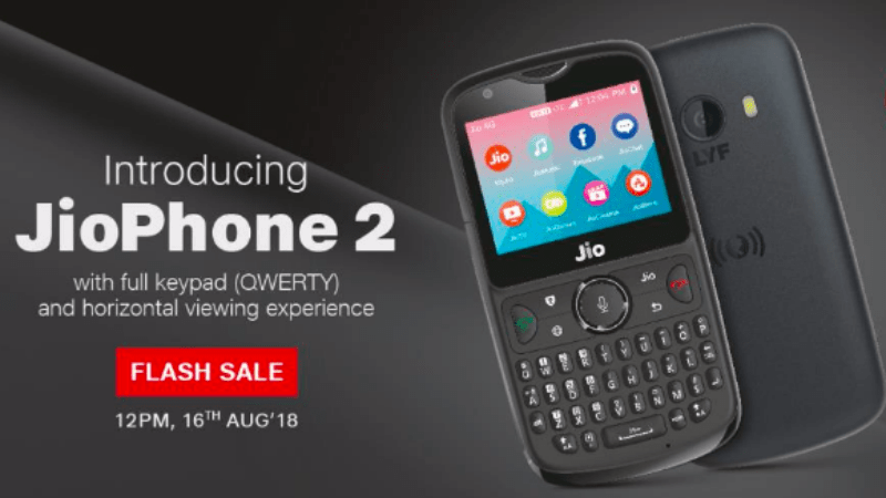 Jio Phone 2 Will be available on the sale on August 16 via Flash Sale.