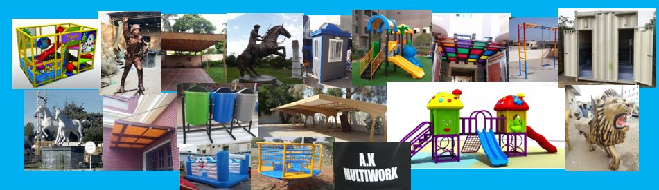 fiberglass shade playground equipment swings monument sculptures portable toilet car parking shades Statue guard room karachi