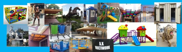 fiberglass shade playground equipment swings monument sculptures portable toilet car parking shades Statue guard room karachi