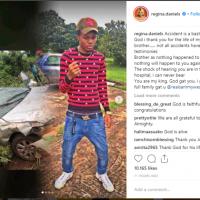 Regina Daniels' brother escapes death as he survives car accident