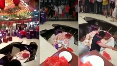 Photo of حفرة تبتلع المدعوين في حفل زفاف بالصين ( فيديو )