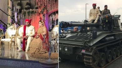 "Photo of ثري هندي يزف لعروسه على "" دبابة "" !"