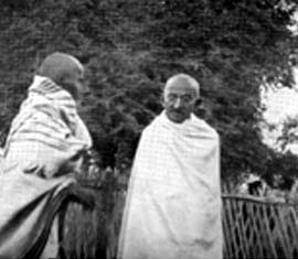Gandhiji and Vinoba Bhave at Vardha 1934