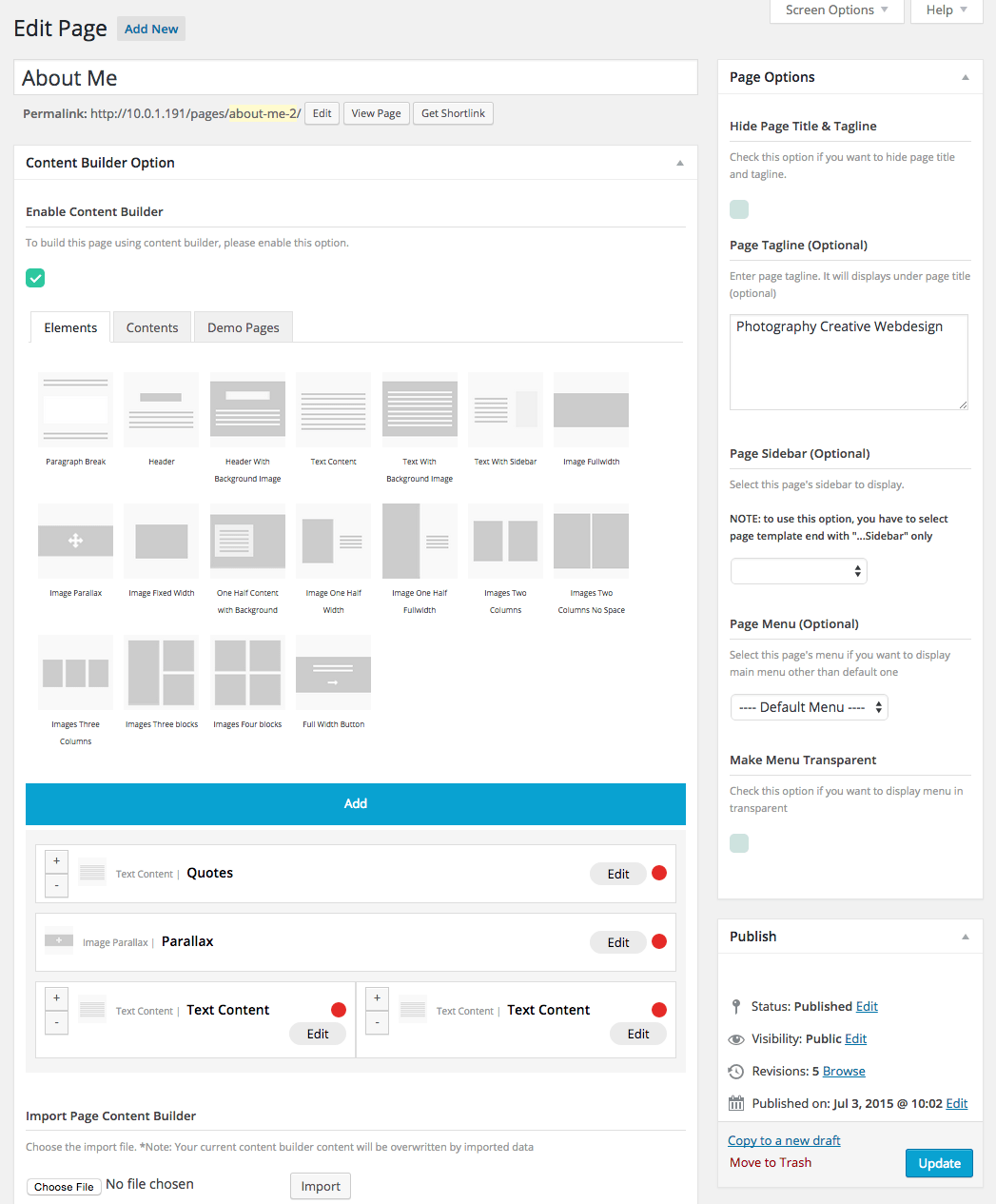 Page Content Builder Options