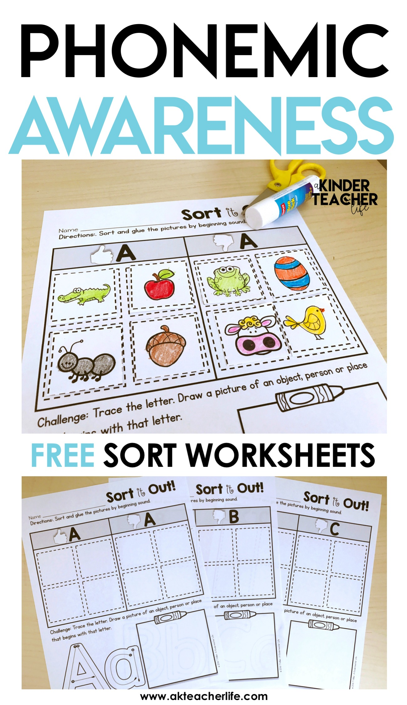 Kindergarten Beginning Sound Sort Worksheets