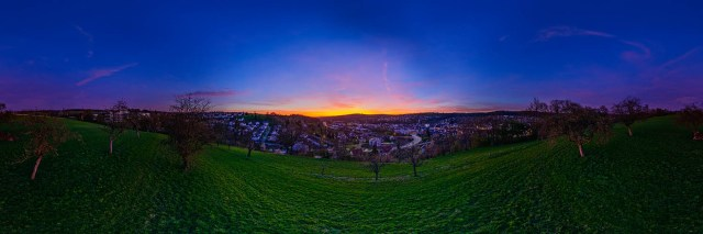 360°-Panorama in Ebersbach an der Fils auf dem Raichberg - Sonnenuntergang